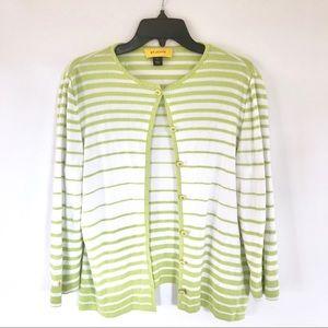 St. John Wool Blend Striped Green & White Cardigan